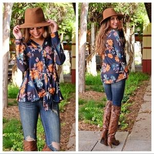 Navy Floral Print Button Down Tie Front Tunic